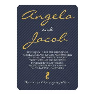 Navy Gold Seahorse Nautical Maritime Wedding Card