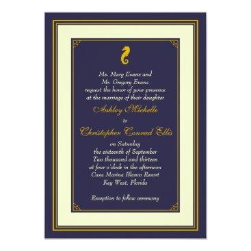 Beach Themed Navy Gold Seahorse Nautical Wedding Invitation