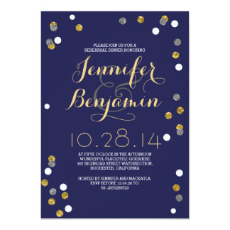 Navy Gold & Silver Confetti Rehearsal Dinner Card