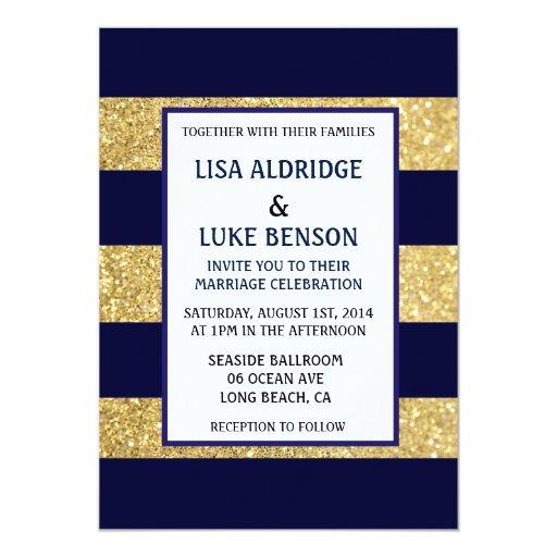 Navy Gold Stripe Wedding Invitation