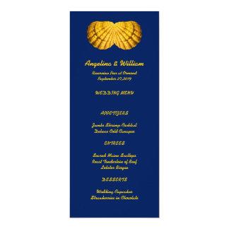 Navy Gold Tall Beach Wedding Menu Template