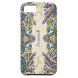 Navy Gold Vintage Peacock Paisley iPhone 5 Case