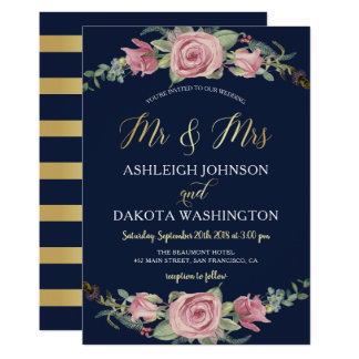 Navy & Gold Watercolor Floral Wedding Invitation