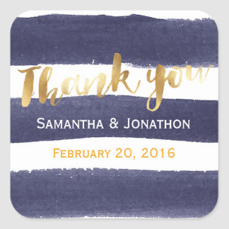 Navy Gold Watercolor Stripes Wedding Thank You Square Sticker