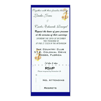 Navy, Gold & White Wedding Invitations and RSVP