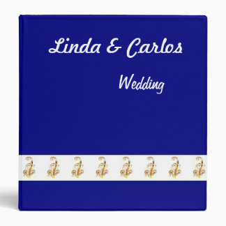 Navy, Gold & White Wedding Planner or Guest Book 3 Ring Binders