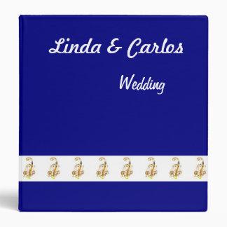 Navy, Gold & White Wedding Planner or Guest Book Binder