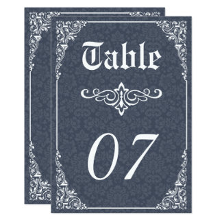 Navy Gothic Victorian Damask Wedding Table Numbers