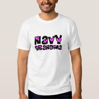 Navy Grandma Pink Hearts T Shirt