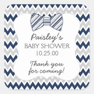 Navy Gray Chevron bow tie boy baby shower favor Square Sticker