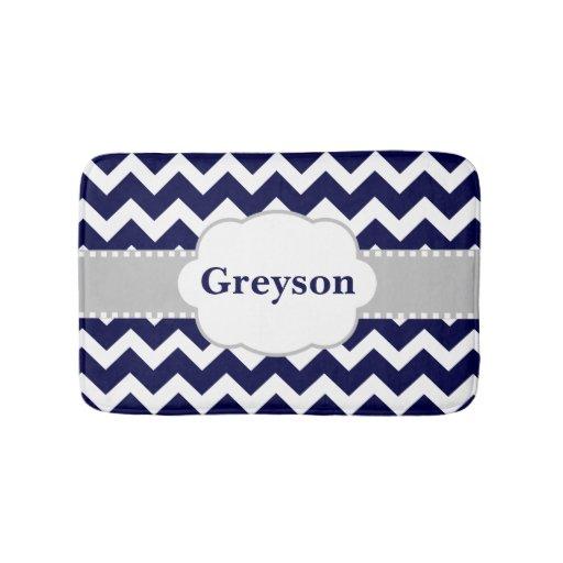 Navy Gray Chevron Monogram Bathmat Zazzle
