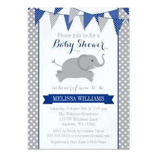 Navy Gray Elephant Polka Dot Bunting Baby Shower Card