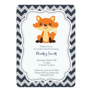 Navy Gray Fox Baby Shower Invitation