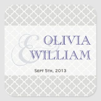 Navy gray Moroccan tile ampersand modern wedding Square Sticker