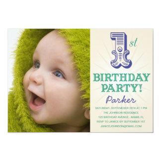 NAVY & GREEN 1ST  | FIRST BIRTHDAY INVITATION