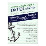Navy & Green Anchor Nautical Wedding Invitations