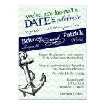 "Navy & Green Anchor Nautical Wedding Invitations 5"" X 7"" Invitation Card"