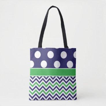Beach Themed Navy Green Dots Chevron Tote Bag