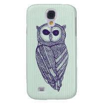Navy & Green Floral Owl Galaxy S4 Cover