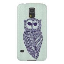 Navy & Green Floral Owl Galaxy S5 Case