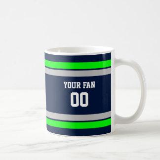 Navy, Green & Grey Football Team Personalized Coffee Mug