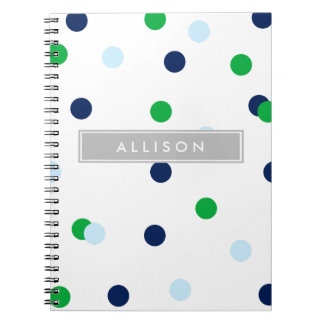 Navy Green & Lt. Blue Polka Dot Monogram Notebook