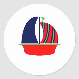 Navy Green Red Sail Boat Classic Round Sticker