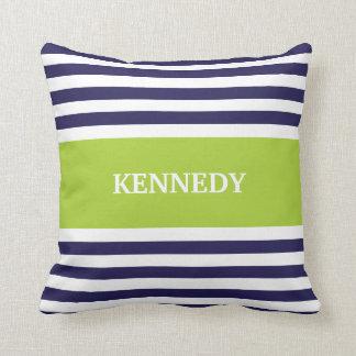 Navy Green Stripes Monogram Throw Pillow