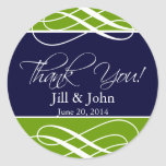 Navy Green Thank You Favor Labels Wedding Stickers