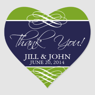 Navy Green Thank You Wedding Stickers Heart