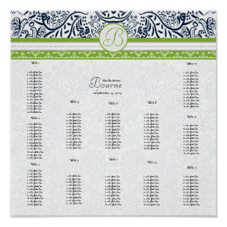 Navy & Green Wedding Seating - Do Not use template Poster