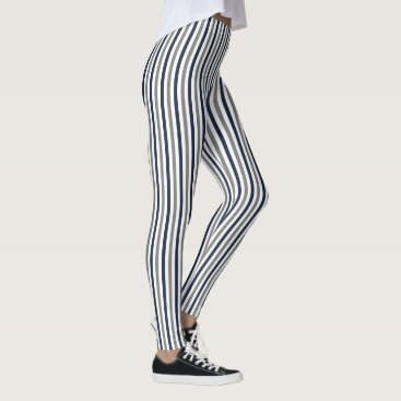 Aztec Themed Navy Grey and White Vertical Stripes Leggings
