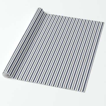 Aztec Themed Navy Grey and White Vertical Stripes Wrapping Paper