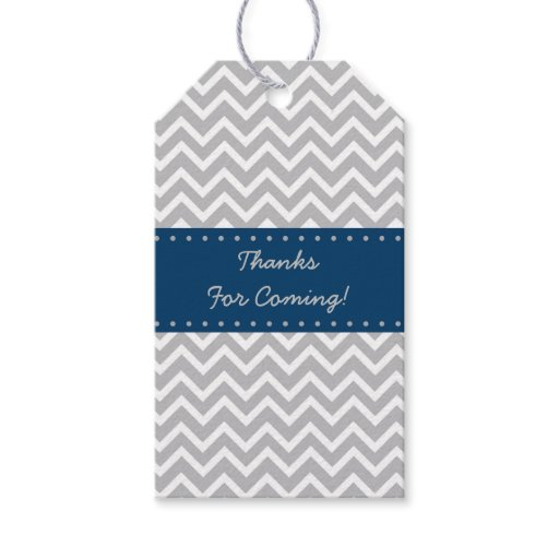 Navy & Grey Chevron Baby Shower Gift Tags