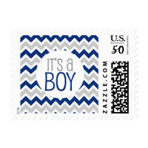 Navy Grey Chevron Baby Shower It's a boy Postage