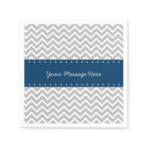 Navy & Grey Chevron Baby Shower Paper Napkin