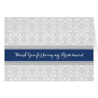 Navy Grey Damask Thank You Bridesmaid Card