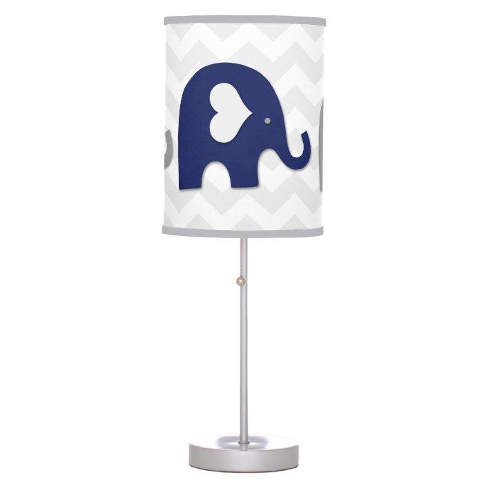 Navy Grey Elephant Nursery Lamp