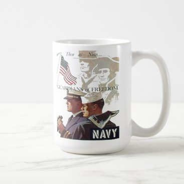 Coffee Themed Navy Guardians of Freedom Coffee Cup
