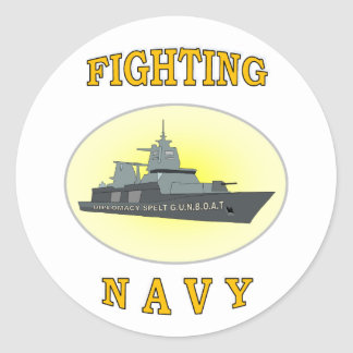 NAVY GUNBOAT CLASSIC ROUND STICKER
