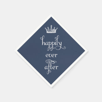 Navy Happily Ever After Crown Napkins Disposable Napkin