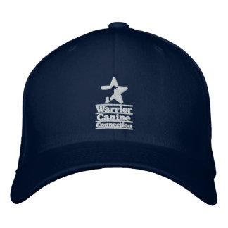 Navy hat, white logo embroidered baseball hat