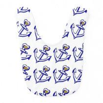 Navy Heart Anchors Pattern Baby Bib
