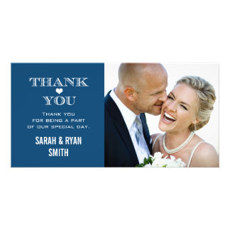 Navy Heart Wedding Photo Thank You Cards Customized Photo Card