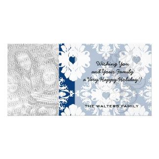 navy hearts blue white damask card
