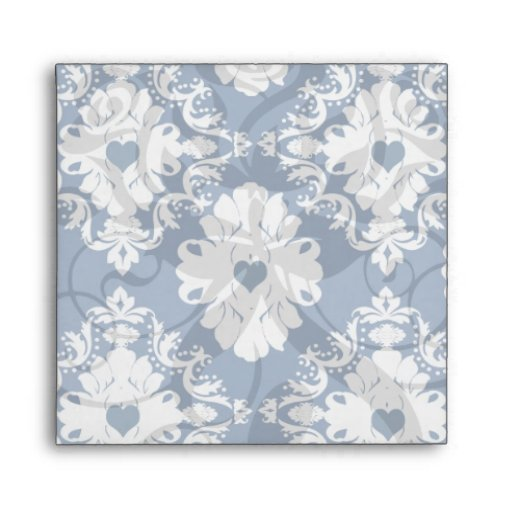 navy hearts blue white damask envelopes