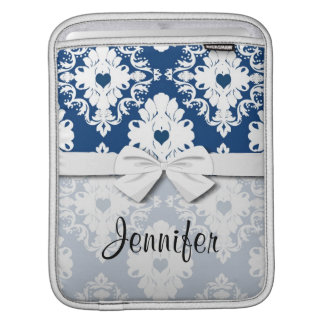 navy hearts blue white damask iPad sleeve