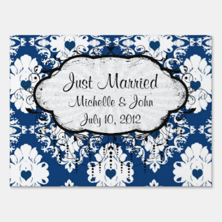 navy hearts blue white damask lawn sign