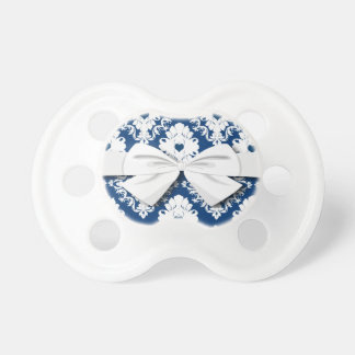 navy hearts blue white damask pacifier