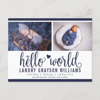 Navy Hello World Photo Birth Stat Announcement Postcard
